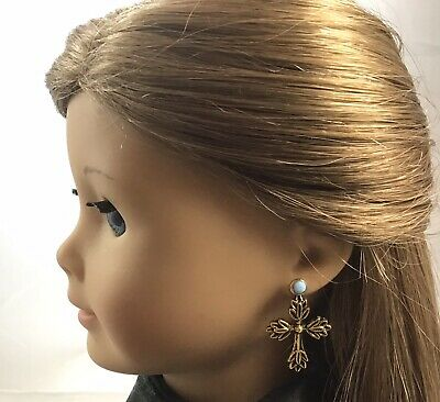 "Gold Victorian Cross Dangle Earrings Fits 18"" American Girl Doll NO POSTS AG03"