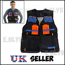 UK Kids Adjustable Tactical Vest with Storage Pockets for Nerf N-Strike Elite