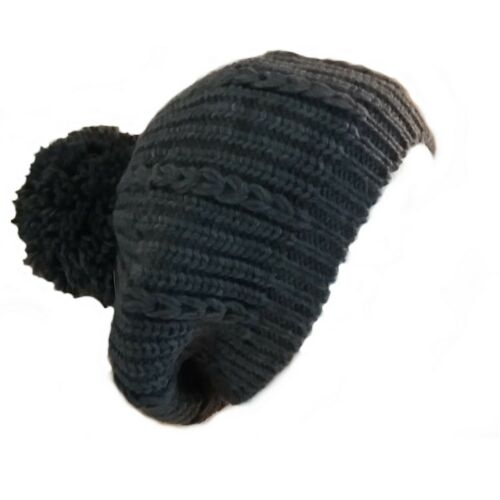Ladies Girls Hat Slouchy Cable Knitted Beret with Pom Pom One Size Grey