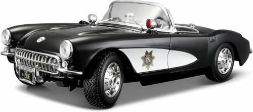 Maßstab 1:18 Maisto Chevrolet Corvette /'57 Polizei Tü Modellauto mit Federung