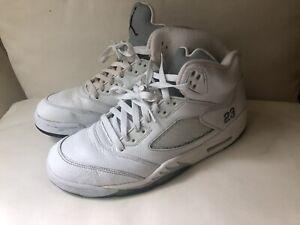 Nike-Air-Jordan-5-Retro-Size-10-5-Metallic-White-Silver-Grey-136027-130