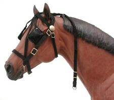 Black Leather Pony Size Replacement Overcheck for Driving Harness Horse Tack