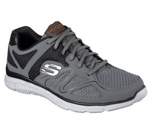 58350-W-Wide-Fit-Charcoal-Skechers-shoe-Men-Comfort-Mesh-Train-Sport-Memory-Foam