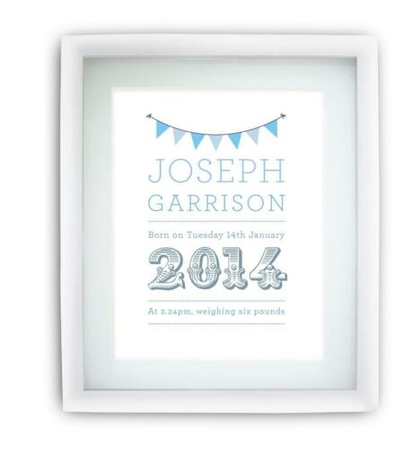 Personalised Childrens Bunting Picture Print A4 blue pink yellow green options