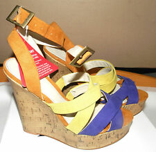 LOVE LABEL UK6/EU39/US8 NEW BOXED SNIPE COLOUR BLOCK WEDGE SANDALS VERY HIGH