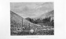 Stampa antica montagna vulcano ETNA base del cratere Catania 1877 Old print