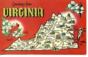 Greetings from Virginia-State Map-Cities-Tourist Sites-Vintage ...