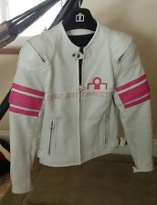 SMALL LEATHER ICON PURSUIT WOMENS WHITE / PINK RIDING JACKET COAT