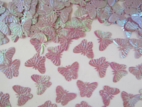 50 Applikation Aufnäher Hell Lila  Pailletten Schmetterlinge Borte Nähen 2,2cm