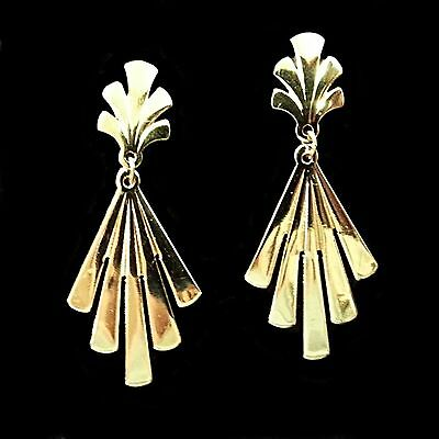 Fan Dangle Earrings Vintage Avon Gold Tone Elegant Pierced Retro Estate V193