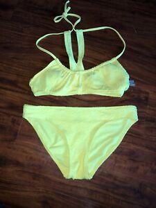 Aerie Neon Yellow Bikini S Small Halter Ebay