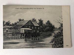 Chicago-Postcard-Sycamore-Combs-Mill-Kishwaukee-River-Illinois-Vintage-IL