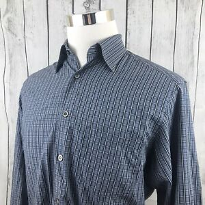 Ermenegildo-Zegna-Mens-Blue-Windowpane-Plaid-Long-Sleeve-Button-Shirt-Size-M