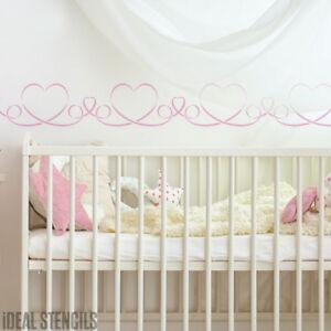 Details zu Kinderzimmer Schablone Herz Bordüre Mädchen Wand Dekoration  Malerei Wohndeko