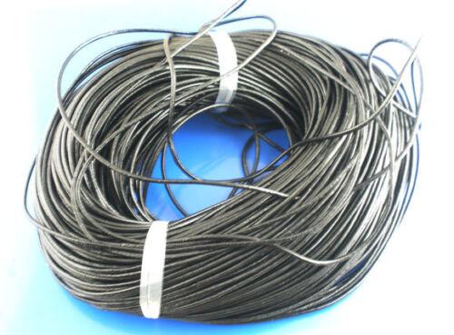 Grande longitud de venta negro cuero auténtico cuero colgante cuerda 2mm