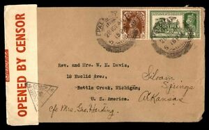 India to United States 1941 Censored WWII Cover Battle Creek MI Arrival