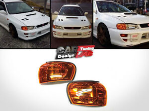 Crystal-Amber-Corner-Lights-Lamps-W-E-Mark-For-1992-2000-Subaru-impreza-GC8-CC8A