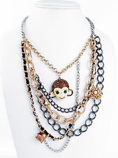 BETSEY JOHNSON Monkey Face Rose Gold-Tone Multi Chain Layered Necklace
