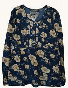 NEW-EX-MANTARAY-UK-SIZE-10-12-DARK-BLUE-FLORAL-PRINT-JERSEY-TOP