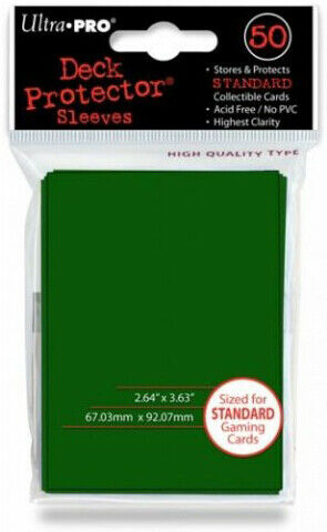 Ultra Pro GAMING SUPPLY BRAND NEW 50ct Ultra Pro - Green Solid Sleeves