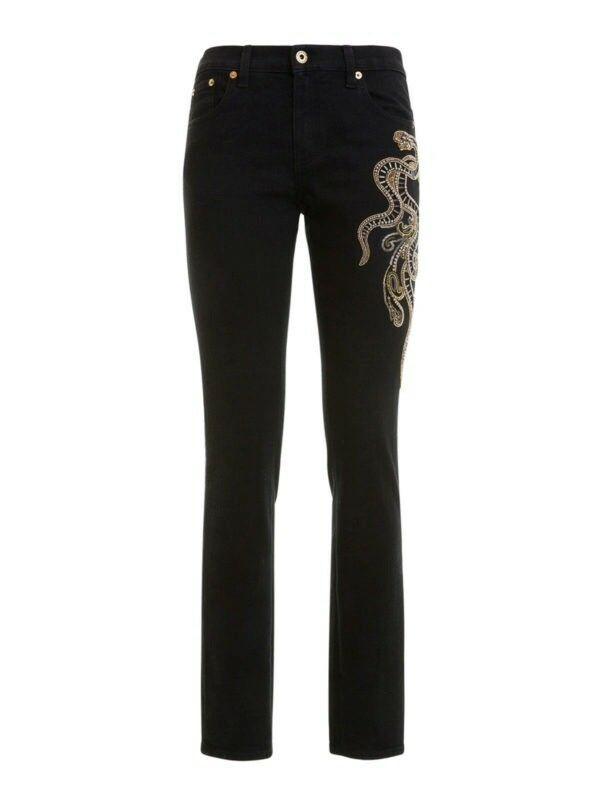 NWOT Roberto Cavalli Stretch Embroidered Snake Jeans Italian Size 38, US Size 2