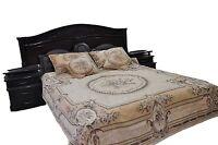 3 Pc Chenille Beige Floral Woven Desert Blossom Medallion Bedspread Set Twin