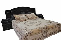 3 Pc Chenille Beige Floral Woven Desert Blossom Medallion Bedspread Set Twin