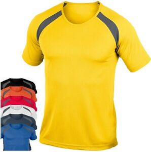 Hanes-7701-Cool-DRI-Mens-Plain-Polyester-Contrast-Breathable-Sports-Tee-T-Shirt