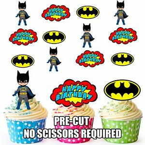 Image Is Loading PRE CUT Superhero Batman Happy Birthday Edible Cupcake