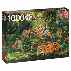 Jumbo-Premium-1000-Piece-Jigsaw-Puzzle-Tigre-Famille-At-The-trou-d-039-eau
