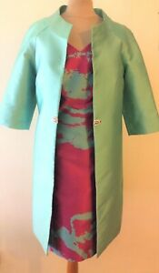 NEW-CARLA-RUIZ-MOTHER-OF-THE-BRIDE-HOT-PINK-amp-AQUA-DRESS-amp-DUSTER-COAT