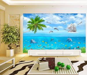 3D bluee Sky Ocean 83 Wallpaper Mural Paper Wall Print Wallpaper Murals UK Lemon