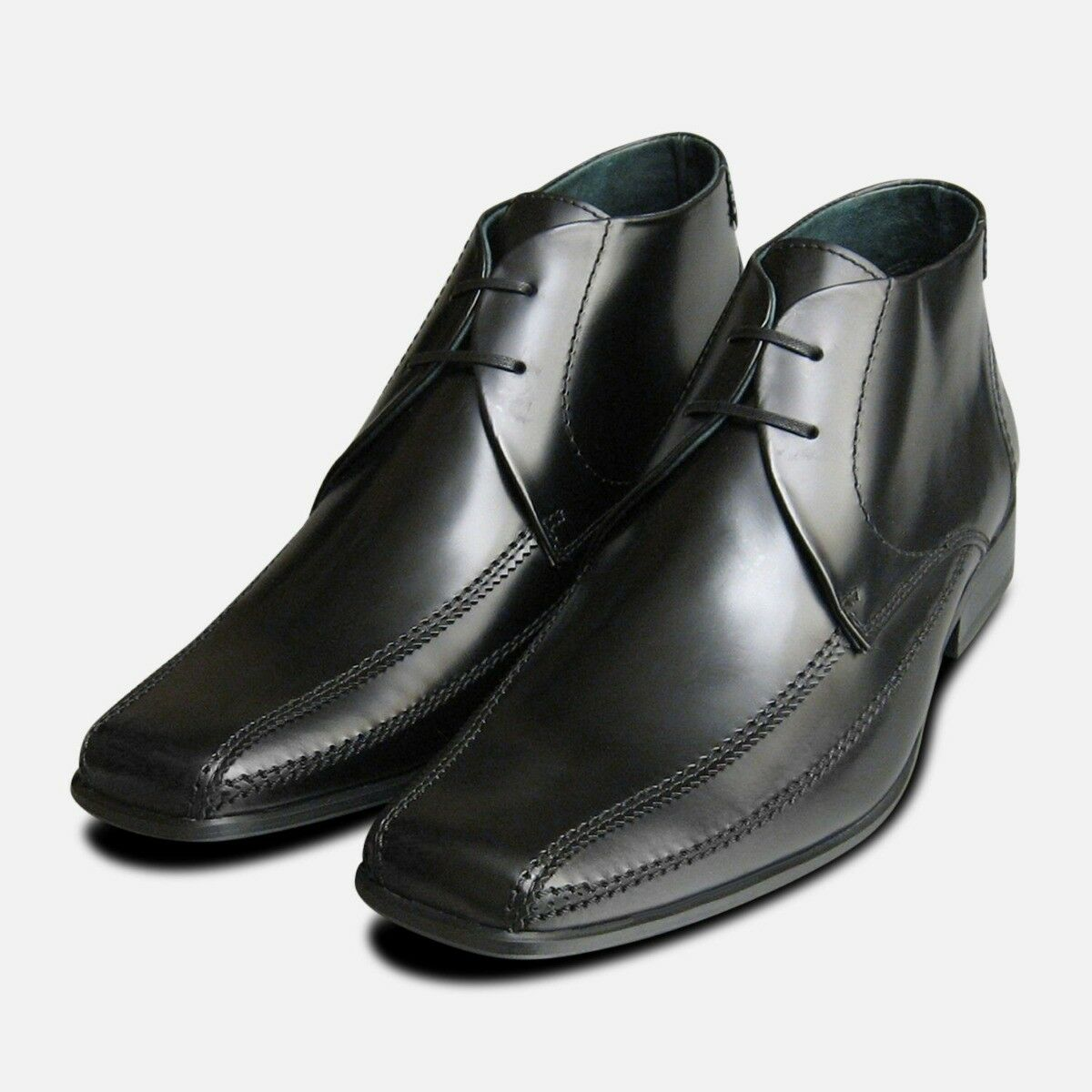 Exceed Black Polished Mens Chukka Boots