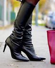 Zara Cuero Negro Ajustable Botas por la rodilla N º 38_ 39