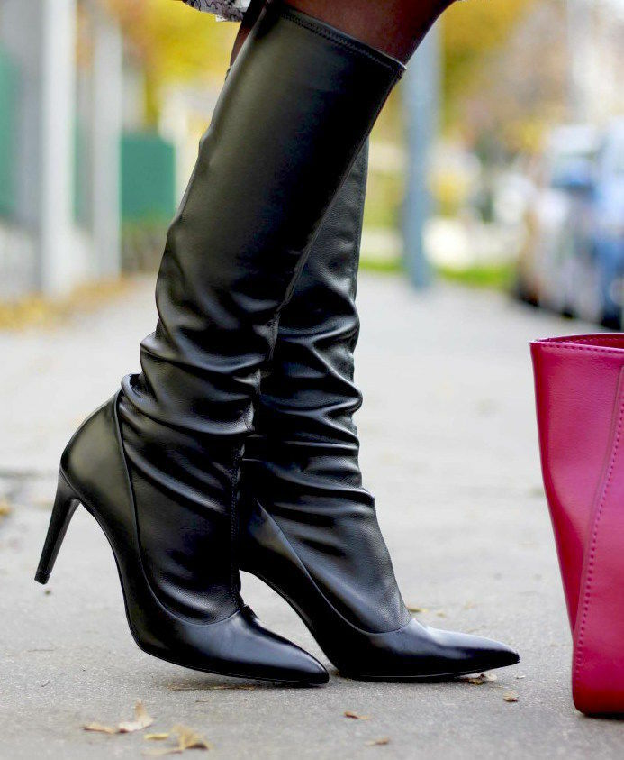 ZARA BLACK LEATHER SIZE STRETCHABLE KNEE HIGH Stiefel SIZE LEATHER 38_39 32c9e9