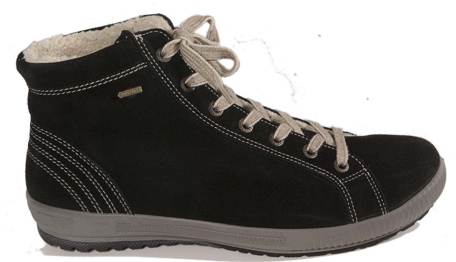 Legero cuero ata botín botín ata botas negro velour cuero Legero G ancho gore 264df8