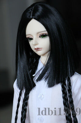 "1/3 8-9""LUTS Pullip SD BJD DOD LUTS Dollfie Doll Wig Long Black Hair with Braid"