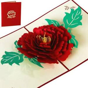 3D-Red-Peony-Pop-Up-Cards-Mother-039-s-Day-Gift-For-Best-Mom-Greeting-Card