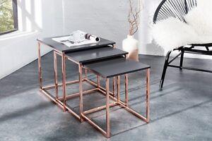 Design Table basse d/'appoint anthracite cuivre Zigon Lot de 3 40x45x40
