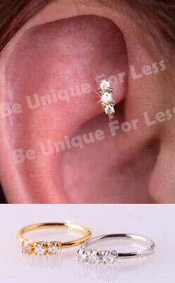 Dainty Trio Helix Crystal Diamante Nose Ring Hoop Stud Small Nose