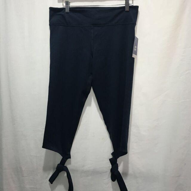 JoyLab Womens Legging Capri Pants Blue Mid Rise Ankle Tie Hidden Pocket L New