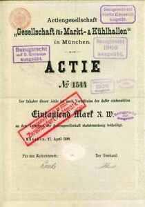 !markt Und Kühlhallen München Signiert Dr. Carl Von Linde 1899!