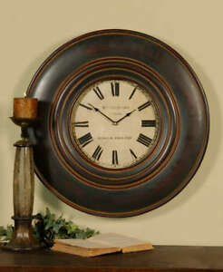 Image Is Loading Rutherford Wood Wall Clock Brown 24d Large Gallery
