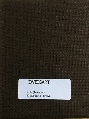 "Zweigart's Aida Fabric for Cross Stitch  16 count 18"" x 21"" Tobacco"