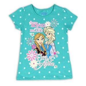4T Anna Disney Frozen Girls T-Shirt with glitter Print 3T Elsa 2T Jade