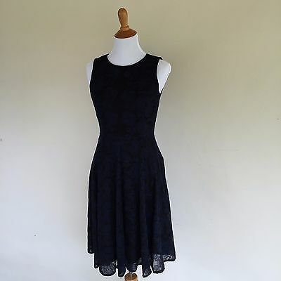 Navy Blue Anne Klein Dress Fit And Flare Dress Midi Size