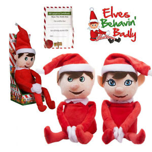"Elves Behavin Badly 12"" Plush Adopt an Elf Soft Toy Christmas Gift + Certificate"