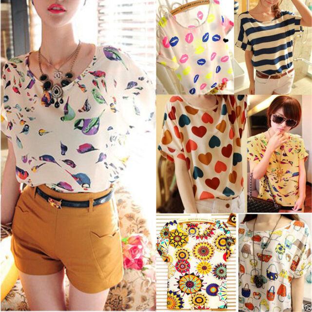 NEW Fashion Women Casual Short Sleeve Heart Printed Chiffon T-shirt Tops Blouse
