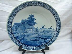Vintage Boch Delft Art Pottery Charger Cottage Windmill Dutch Scene Large Bowl