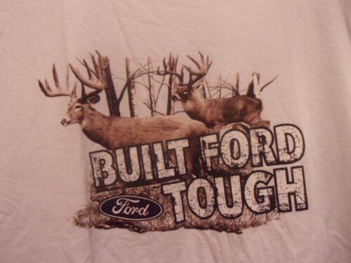 Deer Bucks built FORD TOUGH white graphic L t shir